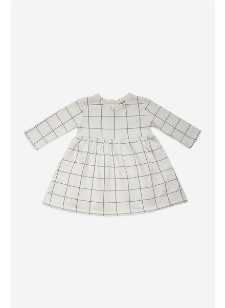 Dress - Checked Ecru