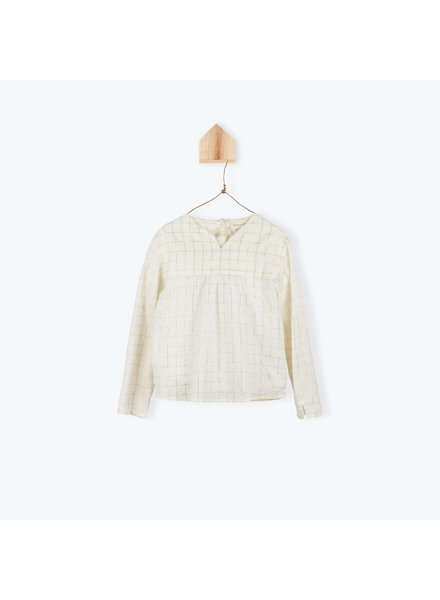 blouse carreaux lurex - ecru