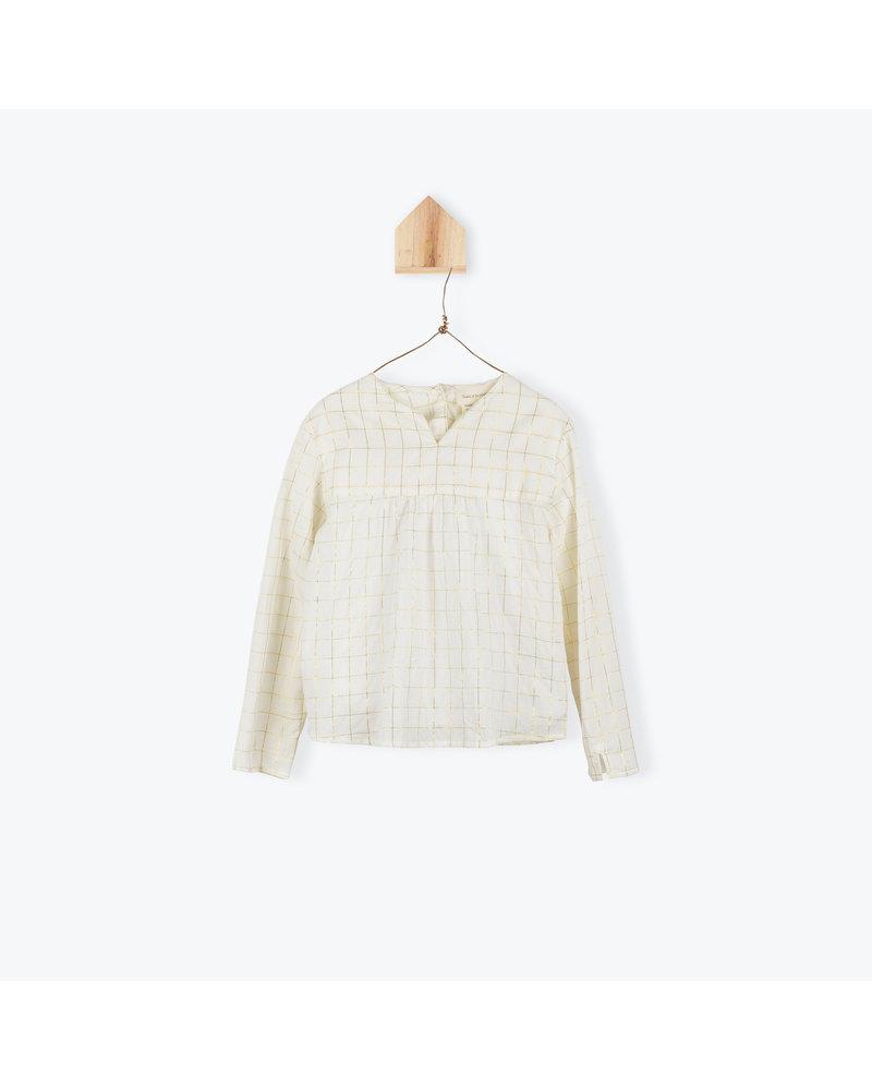 blouse carreaux lurex - ecru