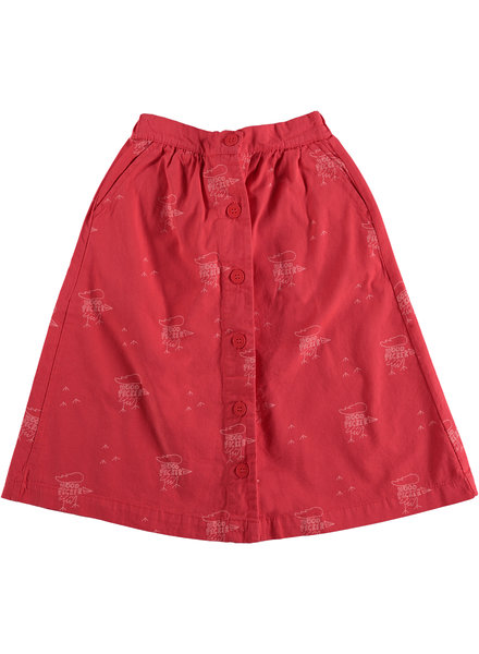 Bonmot Long Skirt - Front Buttons Small Woodpekers Clay Red