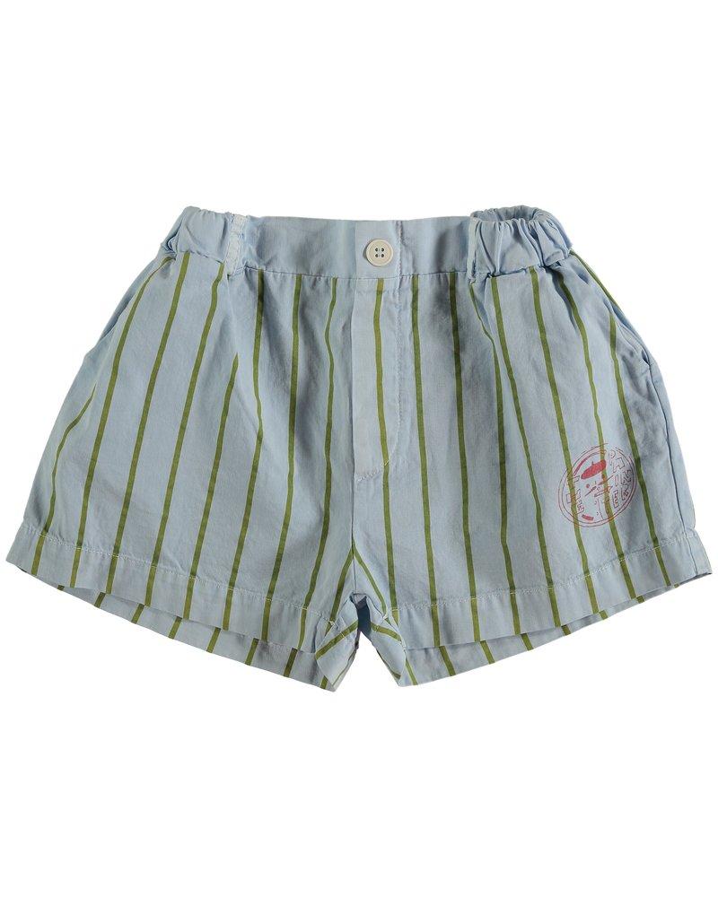 Bonmot Short - Button Thin Stripes Light Blue