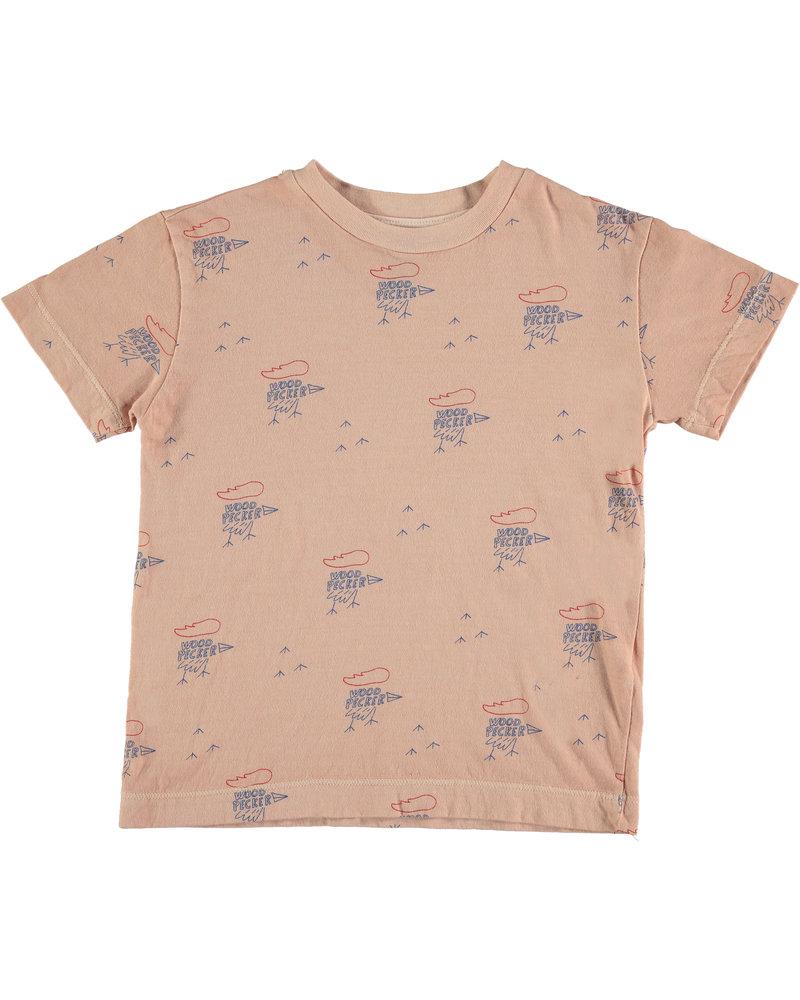 Bonmot T-shirt - Small Woodpekers Dusty Coral