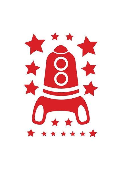 OUTLET // Muursticker - Rocket - rood