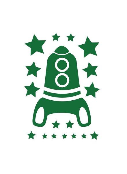 OUTLET // Muursticker - Rocket - donkergroen