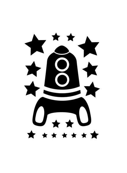 OUTLET // Muursticker - Rocket - zwart