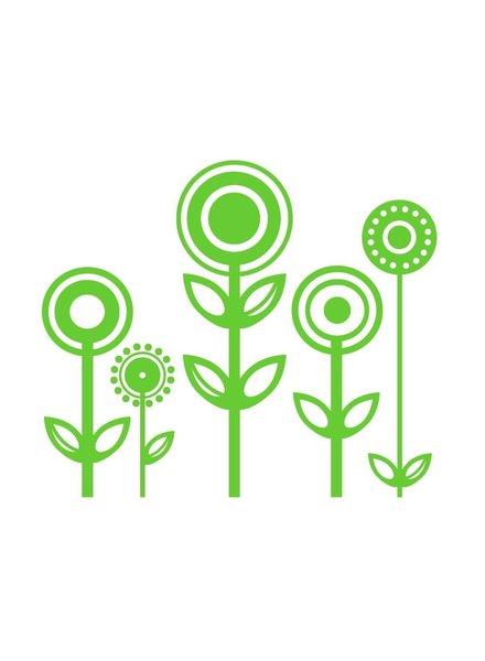 OUTLET // Muursticker - Flowers (groen)