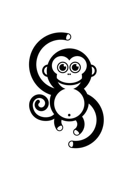 OUTLET // Muursticker - Monkey (zwart)