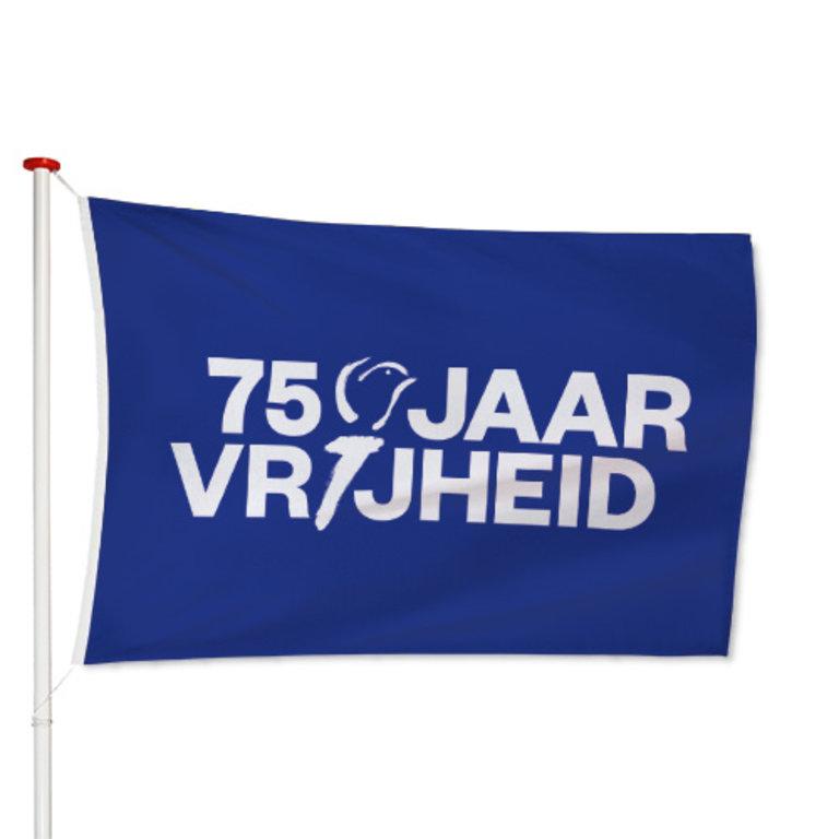 75 Jaar Vrijheid Vlag Blauw