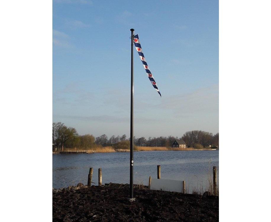 Polyester vlaggenmast conisch 7 meter zwart