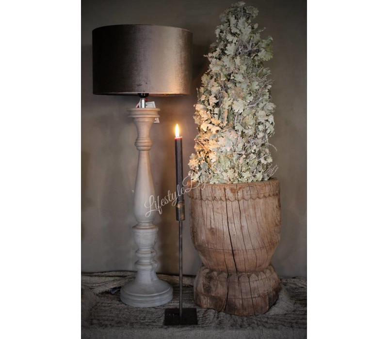 Mooie Houten Lampenvoet.Houten Baluster Lampenvoet Light Grey 70 Cm