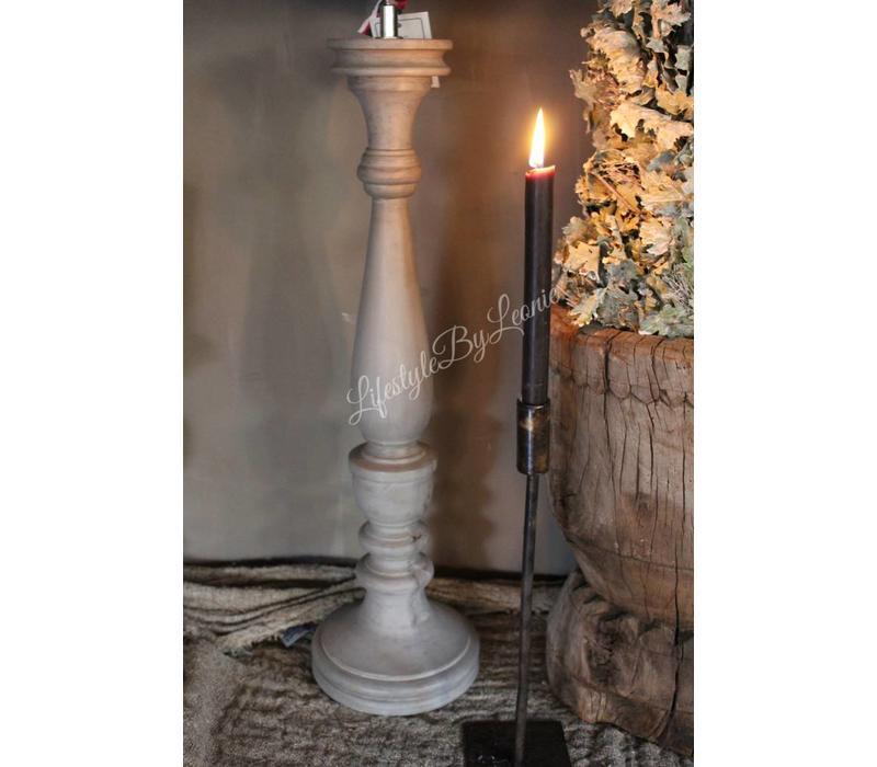 Houten baluster lampenvoet Light grey 70 cm