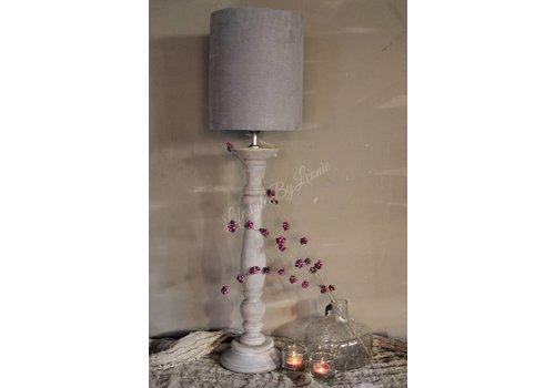 Smalle hoge cilinder lampenkap Suede grey 27 cm