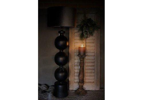 Zwart metalen bol lampvoet 70 cm