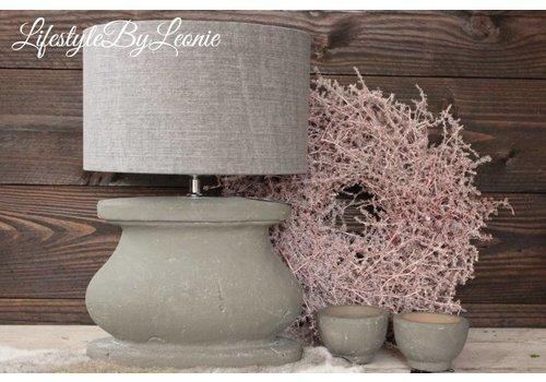 LifestyleByLeonie Cilinder lampenkap stonewashed grey 30 cm