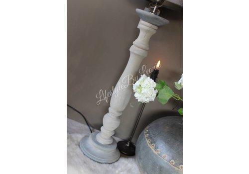 LifestyleByLeonie Houten baluster lampenvoet Grey wash 55 cm