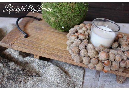 LifestyleByLeonie Krans acorn eikeltjes met windlicht 15 cm