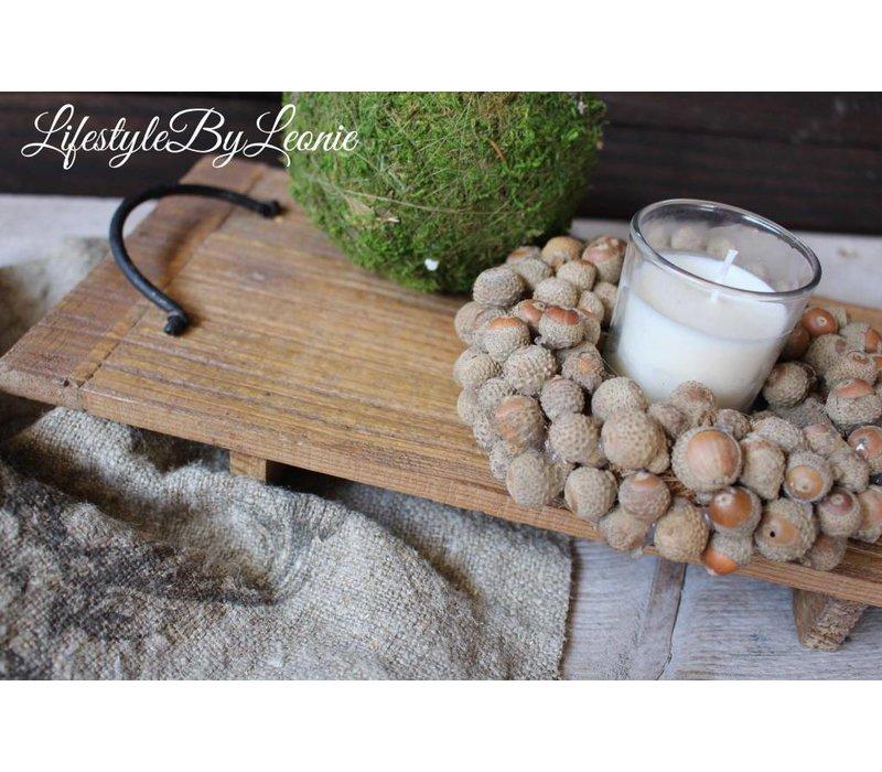 Krans acorn eikeltjes met windlicht 15 cm