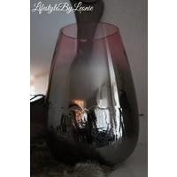 Groot windlicht metallic zwart paars