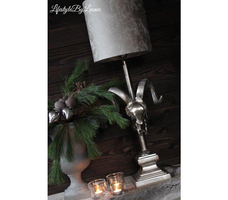 Zilveren lampvoet Skull met hoorns
