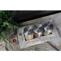 Houten tray met 3 glazen potjes