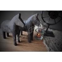Houten paardje grijs bruin - maat S