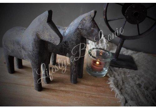 LifestyleByLeonie Houten paardje grijs bruin - maat S