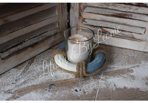 LifestyleByLeonie Waxinelichthouder boei Lifebuoy blauw met wit