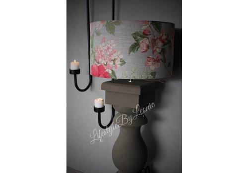 LifestyleByLeonie Cilinder lampenkap Flora roze beige