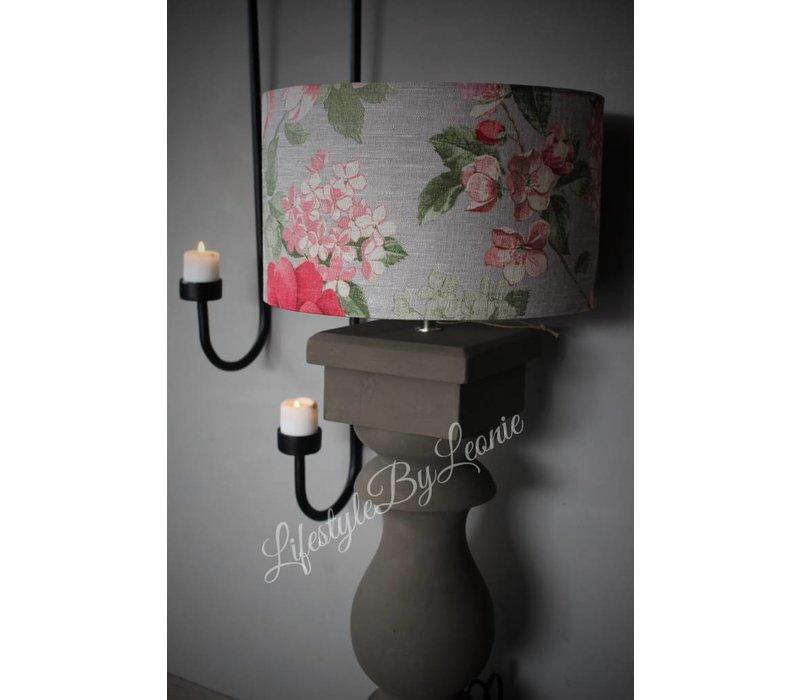 Cilinder lampenkap Flora roze beige