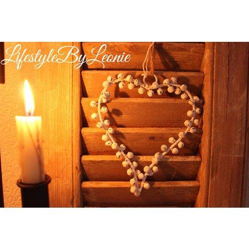 IJzeren hart kransje met belletjes Old white 14 cm