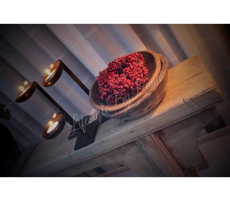 Roze pepperberries krans - maat S