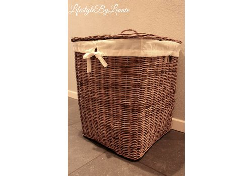 LifestyleByLeonie Rattan wasmand Laundry vierkant 60 cm hoog