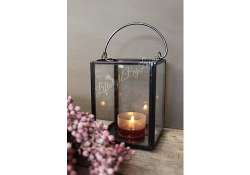 LifestyleByLeonie Zwart metalen windlicht met glas 10 cm