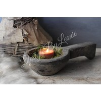 Nepalese lepel voor waxinelichtje Old grey