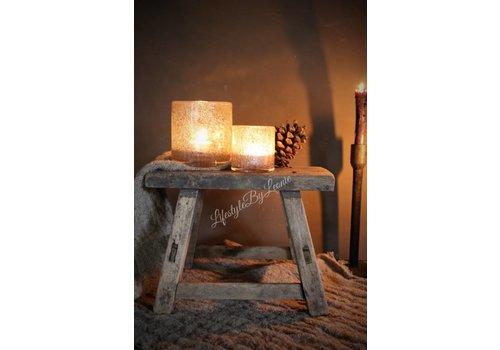 LifestyleByLeonie Oud houten Chinees krukje naturel - maat S