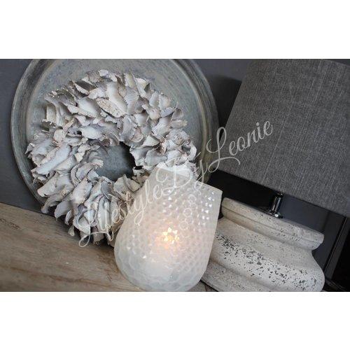 Windlicht conic Milk white 14 cm