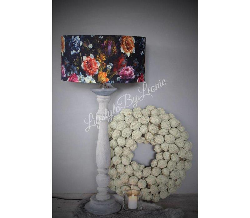 Cilinder lampenkap Dark flora 35 cm