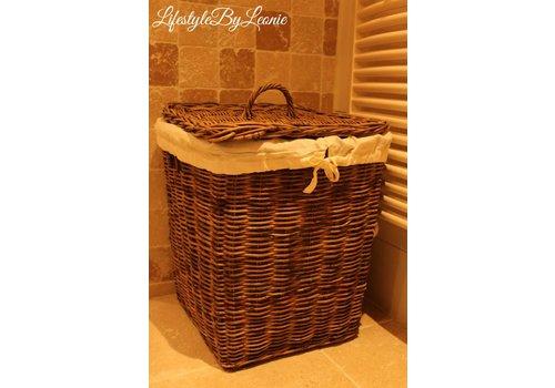 LifestyleByLeonie Rattan wasmand Laundry vierkant 50 cm hoog