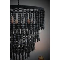 Grote hanglamp zwarte kralen
