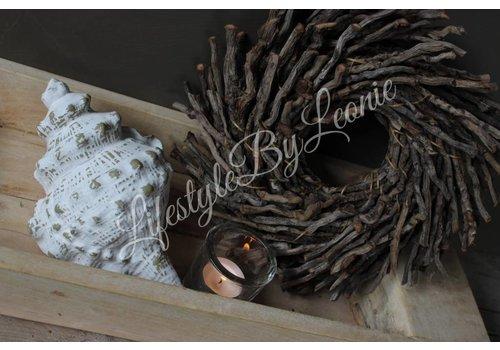 LifestyleByLeonie Grote schelp Charonia taupe/wit 20 cm