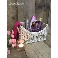 Rattan mand Bathroom white