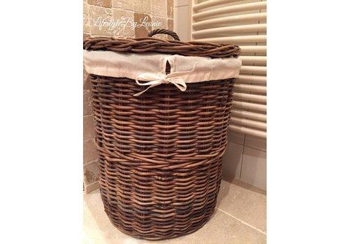 LifestyleByLeonie Rattan ronde wasmand met deksel Laundry 60 cm hoog