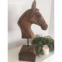 Houten paardenkop op standaard 48 cm