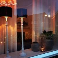 Cilinder lampenkap zwart rosé goud 20 cm