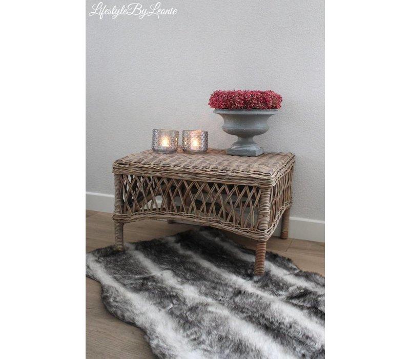 Rustic rattan bijzettafel Open weave
