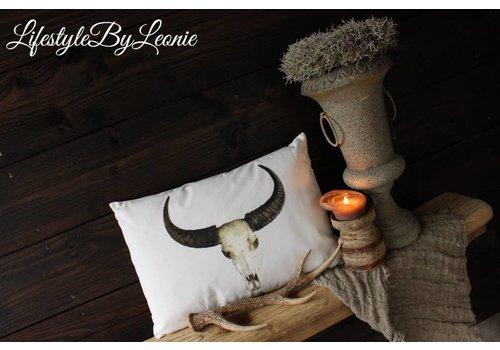 LifestyleByLeonie Canvas kussen Skull 50 cm