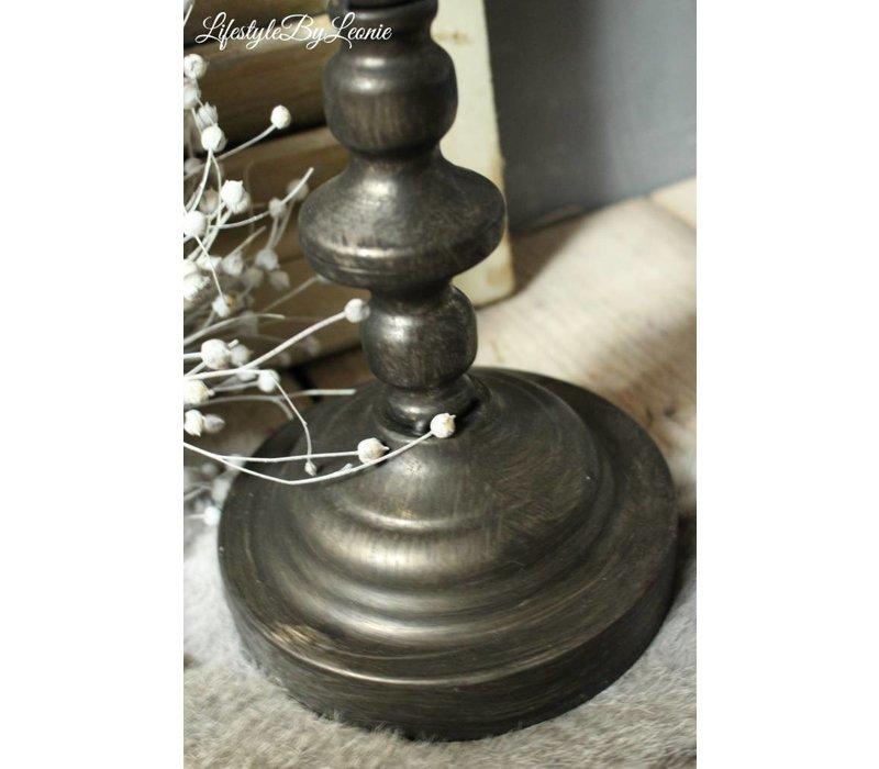 Hoge kandelaar Brons met glas en metaal 72 cm