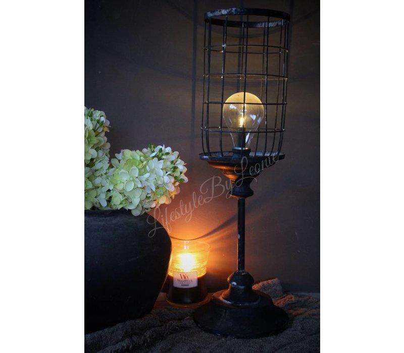 Hoge metalen LED lantaarn Old look 54 cm