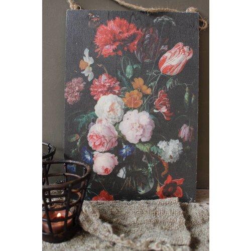 Houten wandkaart Flowers