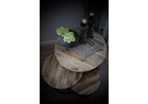 Set van 3 ronde salon tafels Mango Wood